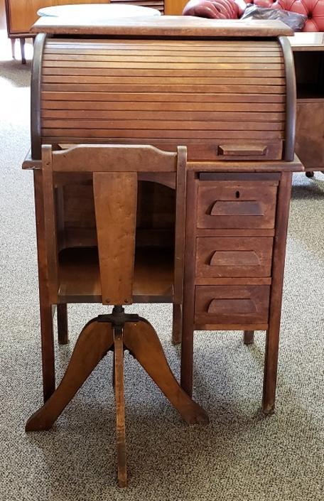 Item #LR1 Vintage Child's Roll Top Desk w/ Swivel Chair c.1920