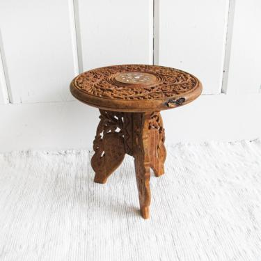 Gorgeous Hand-Carved Vintage Solid Wood Folding Table with Shell Inlay - Made in India by PortlandRevibe