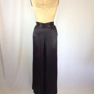 Vintage 40s pants | Vintage black silk satin pants | 1940s black wide leg evening pants by BeeandMason