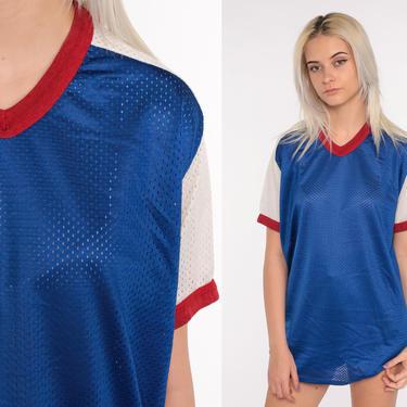 Mesh Shirt Retro T Shirt 80s TShirt V Neck Shirt Royal Blue Striped Shirt Athletic Shirt Vintage 1980s Sports Medium Large by ShopExile