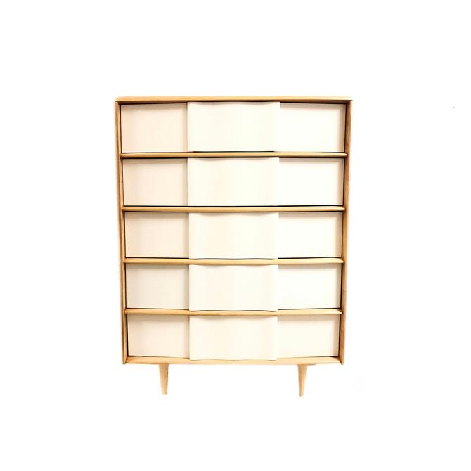 Vintage Mid Century Heywood Wakefield Dresser In White and Wood by minthome