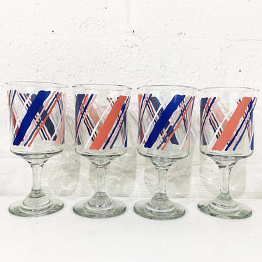 Vintage Striped Water Glasses Glassware Cups Stemware Barware Pink Blue White Pastel Stripes Gift Goblets Stemmed Wine Set of Four Kawaii by CheckEngineVintage