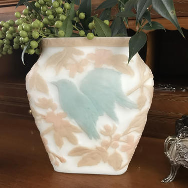 Glass Cameo Vase with Bird and Leaves by CaminoCollective