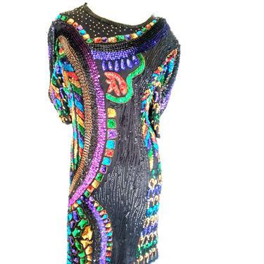 VINTAGE sequin PICASSO dress heavily SEQUIN Bead, art deco dress, cocktail party dress, abstract vintage dress, trophy dress size medium by RETROSPECTNYC