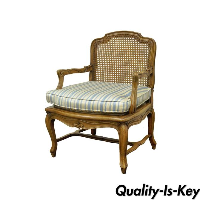 Vintage French Louis XV Style Caned Back Carved Walnut Fireside Lounge Arm Chair
