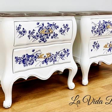 Fabulous French Country Tables, Vintage, Antique, Hand Painted, Nightstands, End Tables, French Provincial. by LaVidaBellaDesign