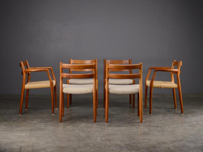 Set of 6 Moller Model 84 Dining Chairs Teak Mid Century Danish Modern by MadsenModern