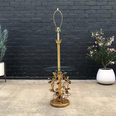 Vintage Italian Guilt Metal Floor Lamp With Glass Side Table, 1960's by VintageSupplyLA