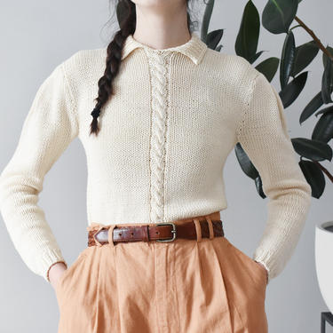 vintage Perry Ellis cotton sweater, 80s cream hand knit pullover, size XS / S by ImprovGoods