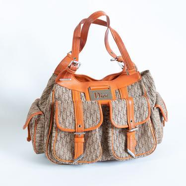 Vintage Christian Dior Street Chic Trotter Hobo Bag in Diorissimo Canvas + Orange Leather John Galliano Multi Pocket Shoulder Bag by backroomclothing