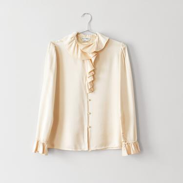 vintage silk poet blouse, charmeuse ruffle collar shirt, size S by ImprovGoods