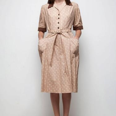 pocket day shirtwaist dress pleated brown white belted floral print vintage 70s half sleeves LARGE L by shoprabbithole