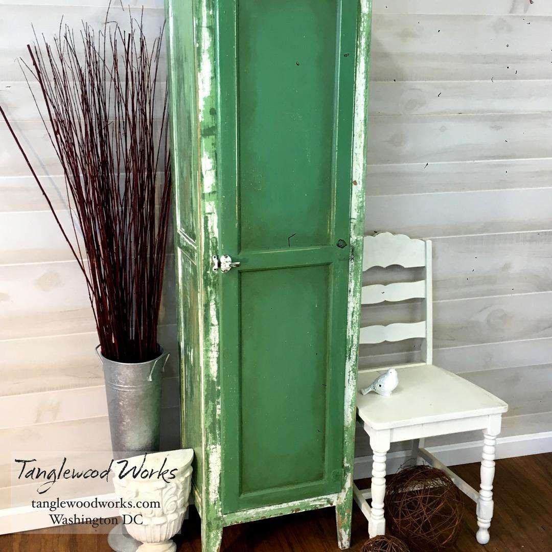 Chippie Vintage Green And White Pantry Cabinet From Tanglewood Works Attic