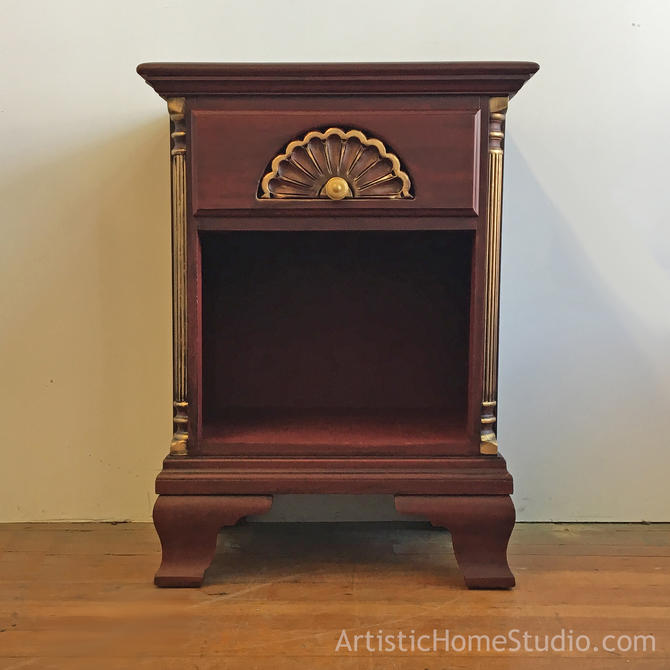Vintage Deep Red & Gold Nightstand