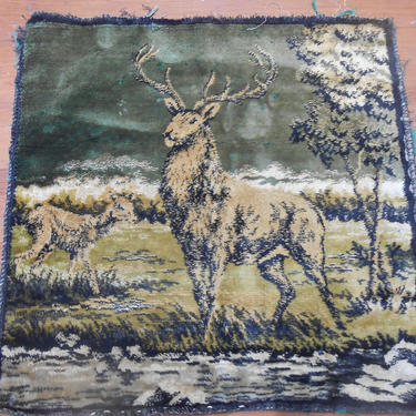 Antique Velvet Velour Tapestry Deer Buck Outdoor Scene Pillow Size Pillow Cover Wall Hanging Craft Repurpose Project Small Carpet Man Cave by kissmyattvintage