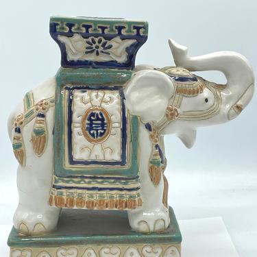 Asian Ceramic glazed Elephant Plant Stand Figurine Garden Decoration Vintage by JoAnntiques