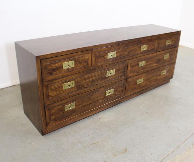 Vintage Henredon Campaign Style Oak Brass Dresser by AnnexMarketplace