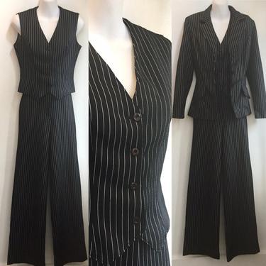 Vintage 70's FREDERICKS OF HOLLYWOOD Pinstripe 3 Piece Suit! / Wide Leg Pant + Vest + Blazer / Disco Era / Rare by CharmVintageBoutique