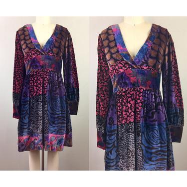 Vintage 70s VELVET Dress Patchwork Mix Print 1970s Boho Hippie Victorian S by FlashbackATX