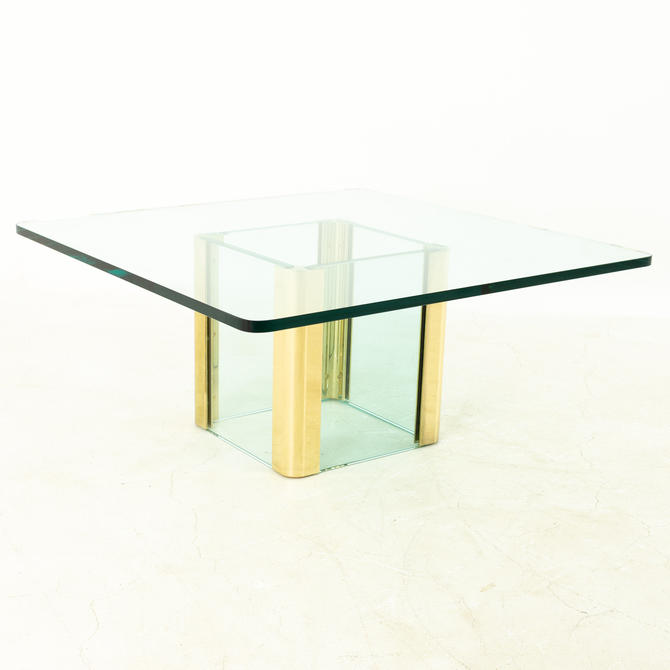 Pace Mid Century Brass and Glass Pedestal Base Coffee Table by ModernHill