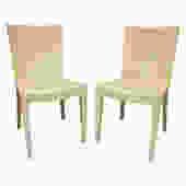 Karl Springer Pair of JMF Chairs in Lacquered Goatskin 1970s