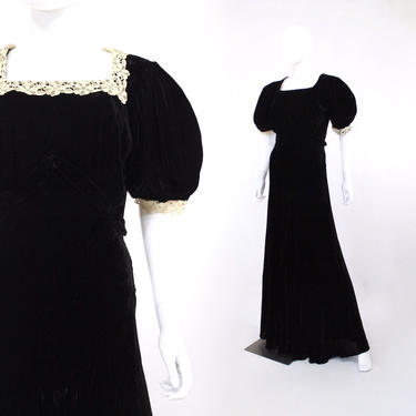 1930s Puff Sleeve Gown - 1930s Black Velvet Dress - 1930s Evening Dress - 1930s Black Dress - Vintage Puff Sleeve Dress  | Size Small by VeraciousVintageCo