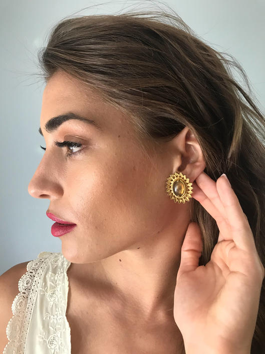 Vintage 60s Amber Carbachon Clip On Earrings by SpeakVintageDC
