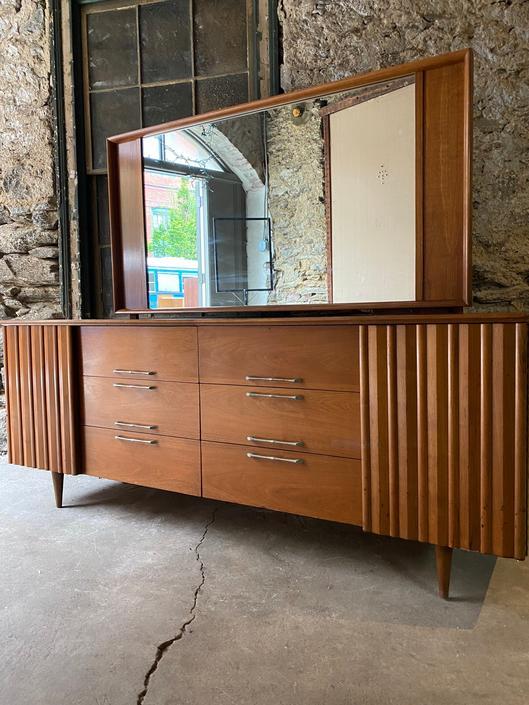 Mid century dresser mid century triple dresser Lane dresser and mirror by VintaDelphia