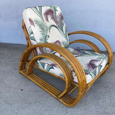 Restored Double D Loop Half Moon Rattan Four-Strand Lounge Chair by HarveysonBeverly