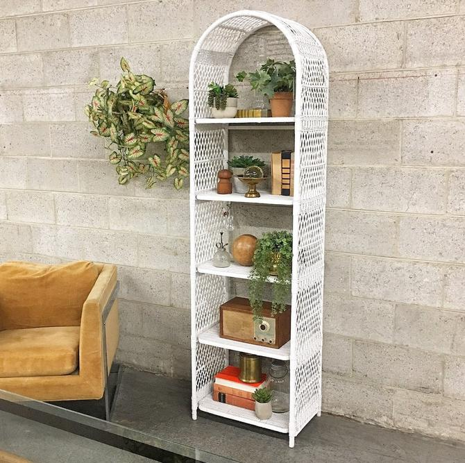 LOCAL PICKUP ONLY ———— Vintage Wicker Arch Shelving Unit by RetrospectVintage215