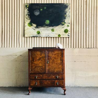 Antique Walnut & Burl Wood Cabinet