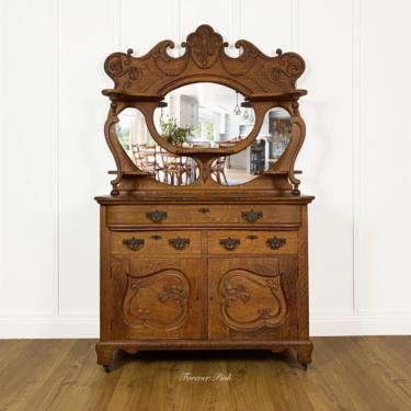 NEW - Antique Oak Buffet Server Sideboard with Ornate Carvings, Solid Wood, Antique Dining Room Furniture by ForeverPinkVintage