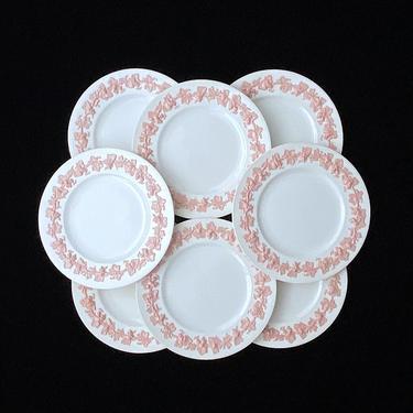 "Vintage Lot of 8 Wedgwood Embossed Queens Ware England Pattern 2768 White and Pink 10 7/8"" Dinner Plates by SwankyChaperooo"