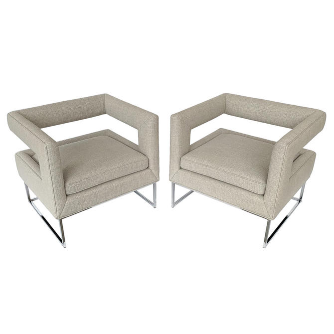 Pair Baughman Open Back Lounge Chairs