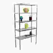 Pair, Chrome & Glass Etagere / Display Shelving / Book Cases