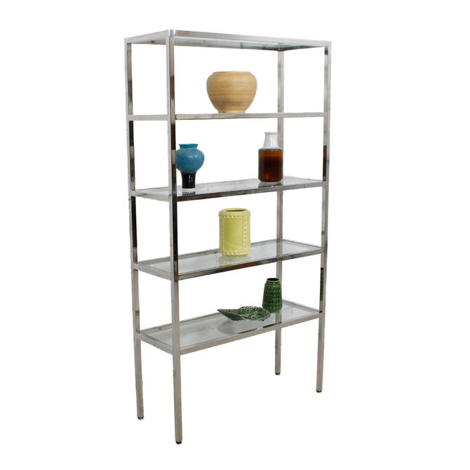 pair chrome glass etagere display shelving book cases from modern mobler attic. Black Bedroom Furniture Sets. Home Design Ideas