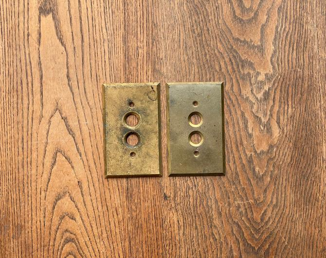 Pair of Antique Brass Push Button Switchplates Light Covers by NorthGroveAntiques