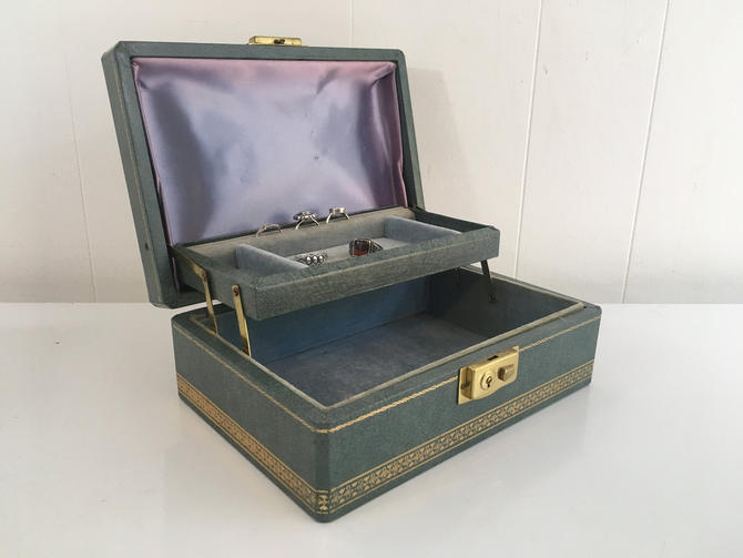 Vintage Blue Jewelry Box Baby Satin Lining Ornate Case Vintage Velvet Vanity Retro Storage 1950s by CheckEngineVintage