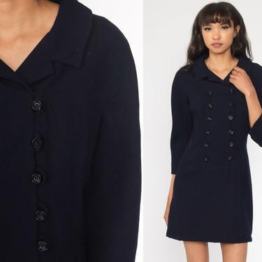 Navy Blue WOOL Dress Mod Mini Dress 60s Twiggy Shift 1960s Vintage Retro Long Sleeve Plain Small Medium by ShopExile