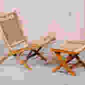 Hans Wegner-Style Folding Chair with Ottoman