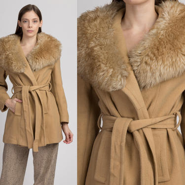 70s Boho Faux Fur Collar Belted Coat - Small to Medium | Vintage Camel Wool Penny Lane Winter Jacket by FlyingAppleVintage