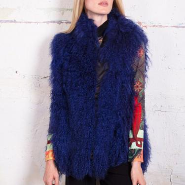 1980s Vintage Marvin Richards Cobalt Blue Mongolian Lamb Fur Vest Shaggy OSF Glam Woodstock by backroomclothing