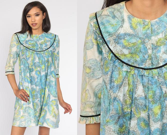 Butterfly Tent Dress 70s Mini Boho Dress Psychedelic Hippie Dress Bohemian Vintage 1/2 Sleeve Blue Minidress Small S by ShopExile