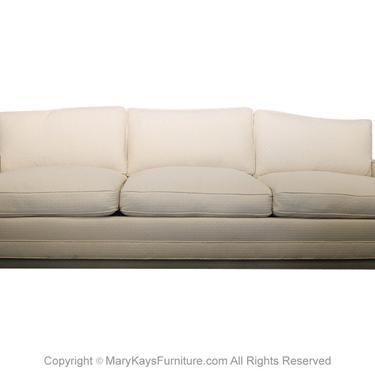 Mid Century Dunbar Tuxedo Sofa Plinth Base by Marykaysfurniture