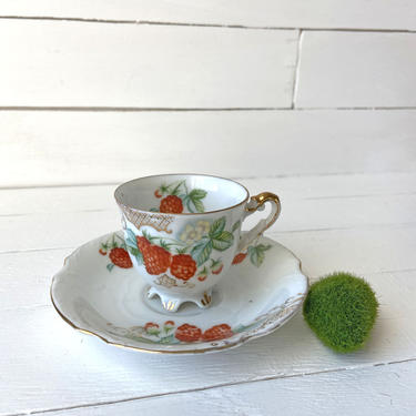 Vintage Japanese Raspberry Footed Demitasse Tea Cup And Saucer    Made In Occupied Japan, Fruit Tea Cup, Collectible, Strawberry, Rustic by CuriouslyCuratedShop