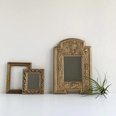 Baroque Style Wall Mirror, Ornate Plaster Cast Gold Mirror with Cherubs and Gargoyle by PebbleCreekGoods