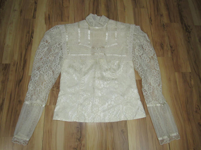 Vintage 80s Victorian Style Blouse Oyster White Jessica Gunnies Lace Satin Ribbon 34 Bust by GraveyardVintage
