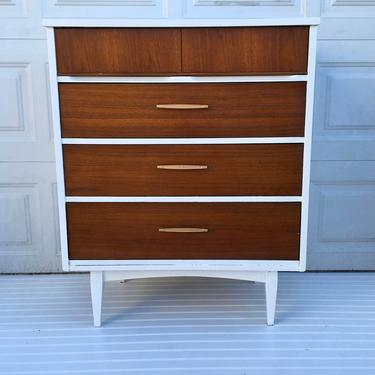 Mid Century Modern Painted Dresser, White and Gold Modern Dresser, Highboy, Chest of Drawers, Free NYC Delivery by AntiqueBoutiqueNYC