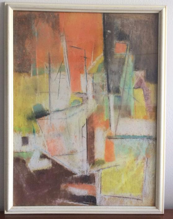 MID CENTURY ABSTRACT PAINTINGS ON PAPER by YONA  LOTAN LISTED  ISRAELI ARTIST