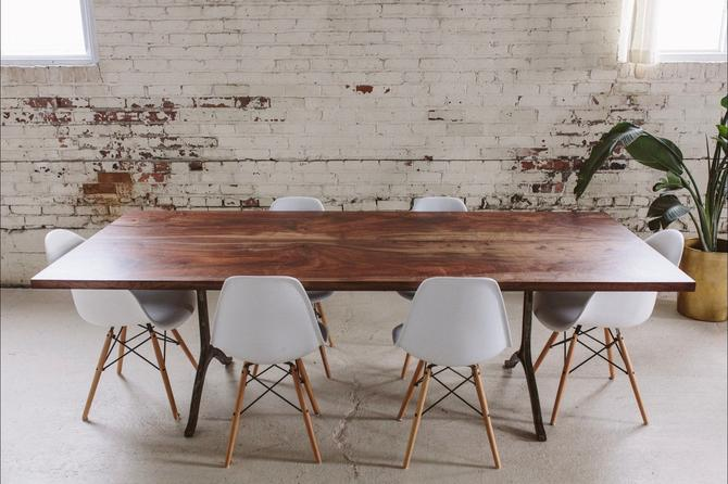 Claro Walnut Dining Table | Steel Wishbone Legs | Modern Conference Table by StocktonHeritage
